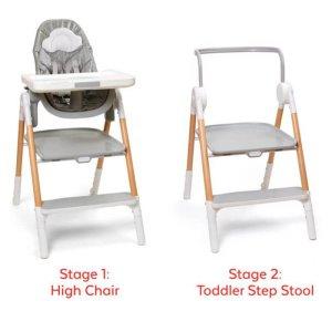 Stolička jedálenská/schodíky 2v1 Sit To Step šedo-biela