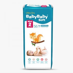 Detské plienky Ultra Dry Mini 56ks Baby Baby Soft